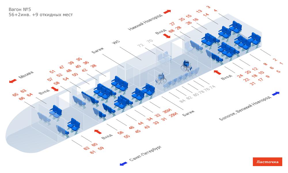 Схема расположения мест в вагоне ласточка